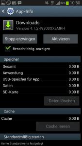 Anwendung Downloads auf Galaxy S3 aktivieren.